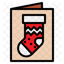 Christmas Card Colored Outline Icon