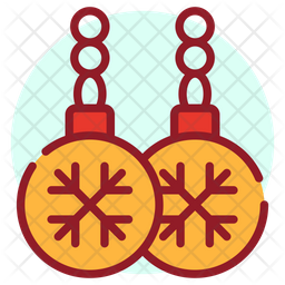 Christmas Earrings Colored Outline Icon