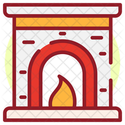 Christmas Fireplace Colored Outline Icon