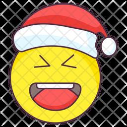 Christmas Laugh Emoji Colored Outline  Emoji Icon
