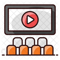 Cinema Hall Colored Outline Icon