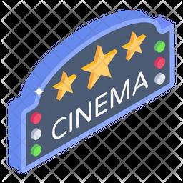 Cinema Sign Board Isometric Icon