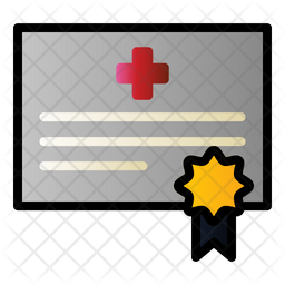 Clinic Certificate Colored Outline Icon