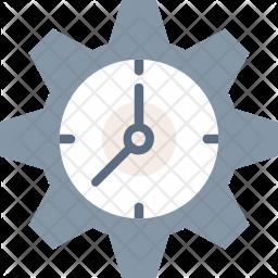 Clock under Cogwheel Icon
