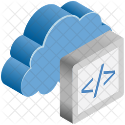Cloud Coding Isometric Icon