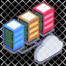 Cloud Data Servers Isometric Icon