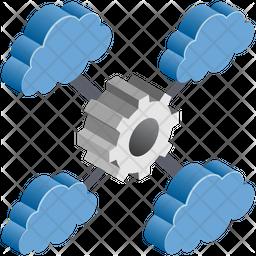 Cloud Network Setting Isometric Icon
