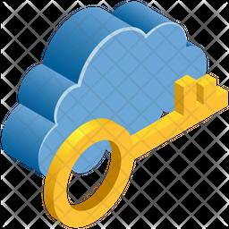 Cloud Security Key Isometric Icon