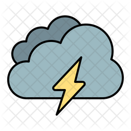 Cloud Thunder Colored Outline Icon