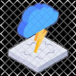 Cloud Thunderstorm Isometric Icon