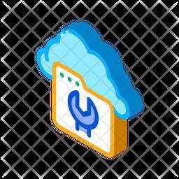 Cloud Web Repair Isometric Icon