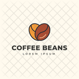 Coffee Beans Colored Outline  Logo Icon