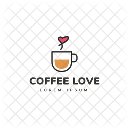 Coffee Love Colored Outline  Logo Icon