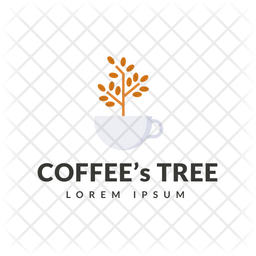 Coffee Tree Colored Outline  Logo Icon