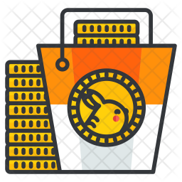 Coin bucket Colored Outline Icon