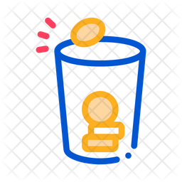 Coins Cup Colored Outline Icon