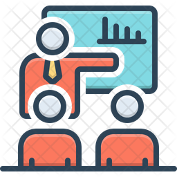 Company Meeting Colored Outline Icon