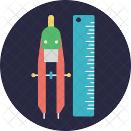 Compass and Ruler Flat Icon
