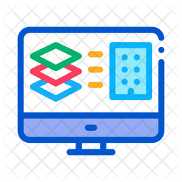 Computer Building Plan Colored Outline Icon