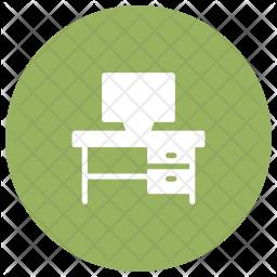 Computer Desk Glyph Icon