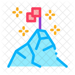 Conquering Top Mountain Colored Outline Icon