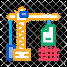 Construction Crane Colored Outline Icon