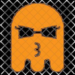 Cool ghost Flat  Emoji Icon
