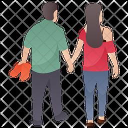 Couple Walk Flat Icon