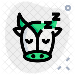 Cow Sleeping Colored Outline  Emoji Icon