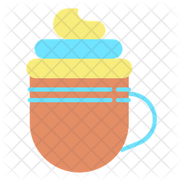 Cream Coffee Flat Icon