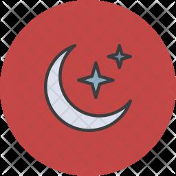 Crescent Colored Outline Icon