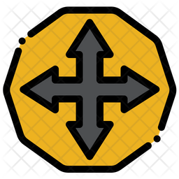 Cross Junction Sign Icon