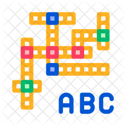 Crossword Colored Outline Icon