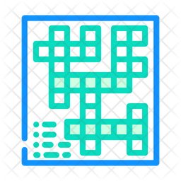 Crossword Game Colored Outline Icon
