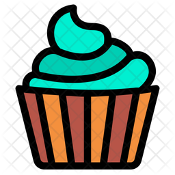 Cupcake Colored Outline Icon