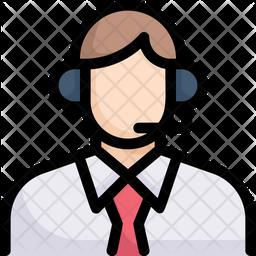 Customer Service Colored Outline Icon