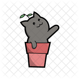 Cute Cat In Pot Icon Of Colored Outline Style Available In Svg Png Eps Ai Icon Fonts
