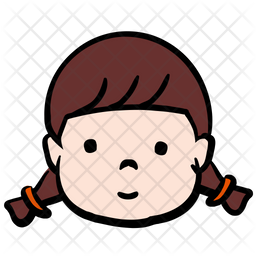 Cute Kid Colored Outline Icon