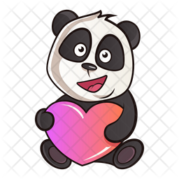 Cute Panda With Heart Icon Of Sticker Style Available In Svg Png Eps Ai Icon Fonts
