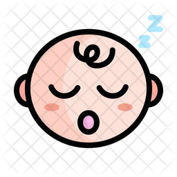 Cute Sleeping Baby Colored Outline Icon