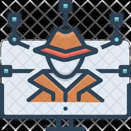 Cyber Crime Colored Outline Icon