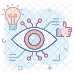 Cyber Eye Colored Outline Icon