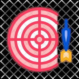 Darts Colored Outline Icon