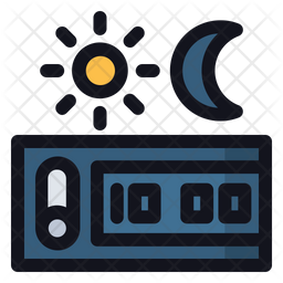 Day And Night Colored Outline Icon