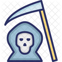 Death With Scythe Colored Outline Icon