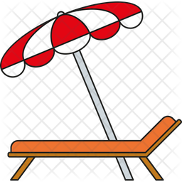 Sunbed and Parasol Icon