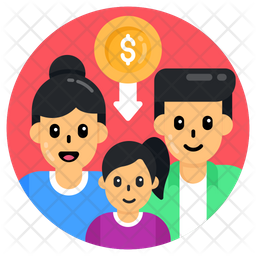 Decrease Budget Family Icon