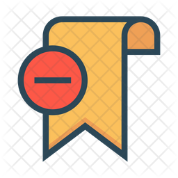 Delete Bookmark Colored Outline Icon
