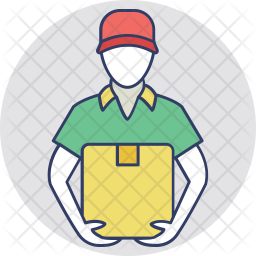Delivery Boy Colored Outline Icon