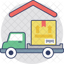 Delivery Truck at Warehouse Icon